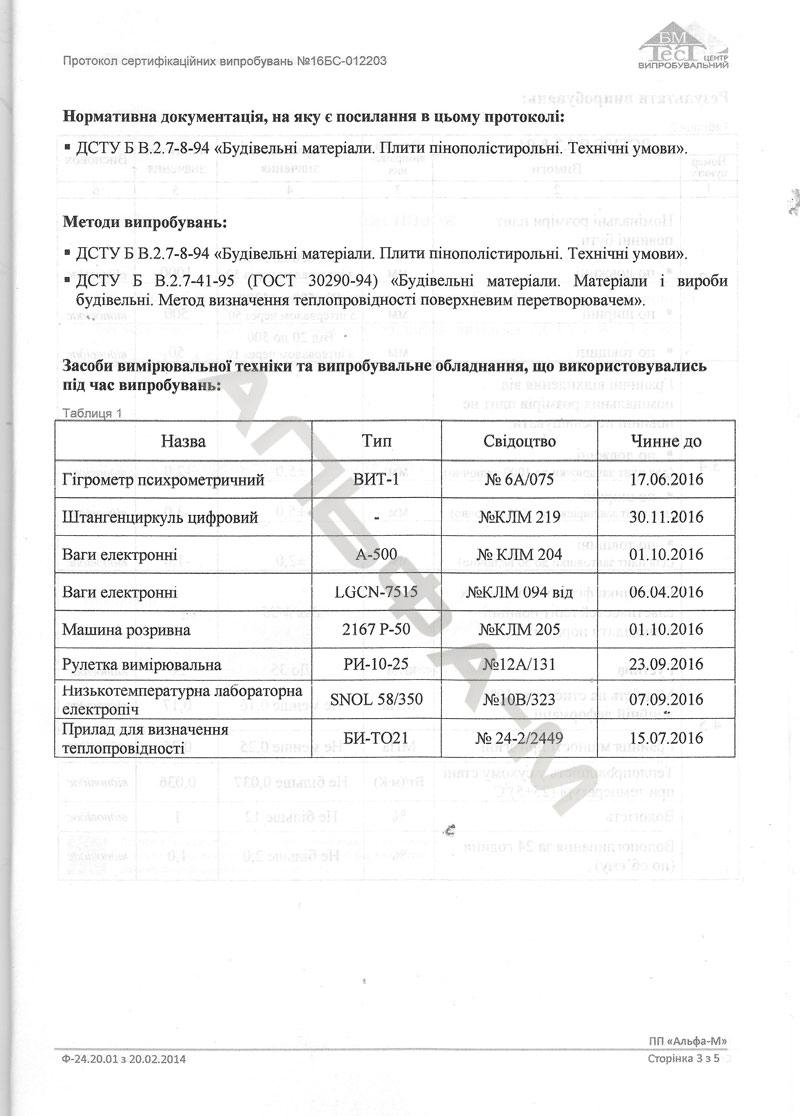 Протокол  испытаний  ПСБ-С 35 3